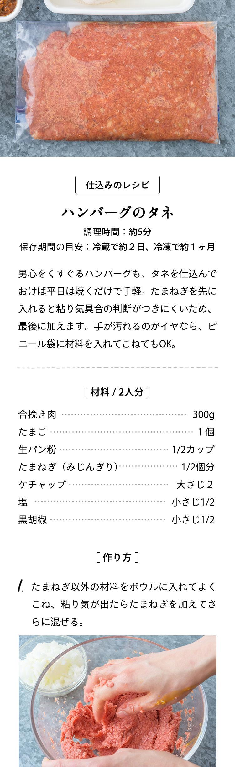 仕込みのレシピ:ハンバーグのタネ 材料費3000円でふたり分10品